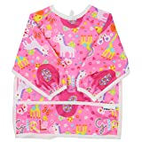 Pikababy Long Sleeved Bib Waterproof Bibs with pocket - 6 to 24 months baby girl and boy colors (Wonderland)