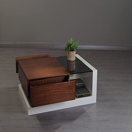 New Modern Contemporary CARTIER Coffee Table in White Glossy Lacquer and Walnut