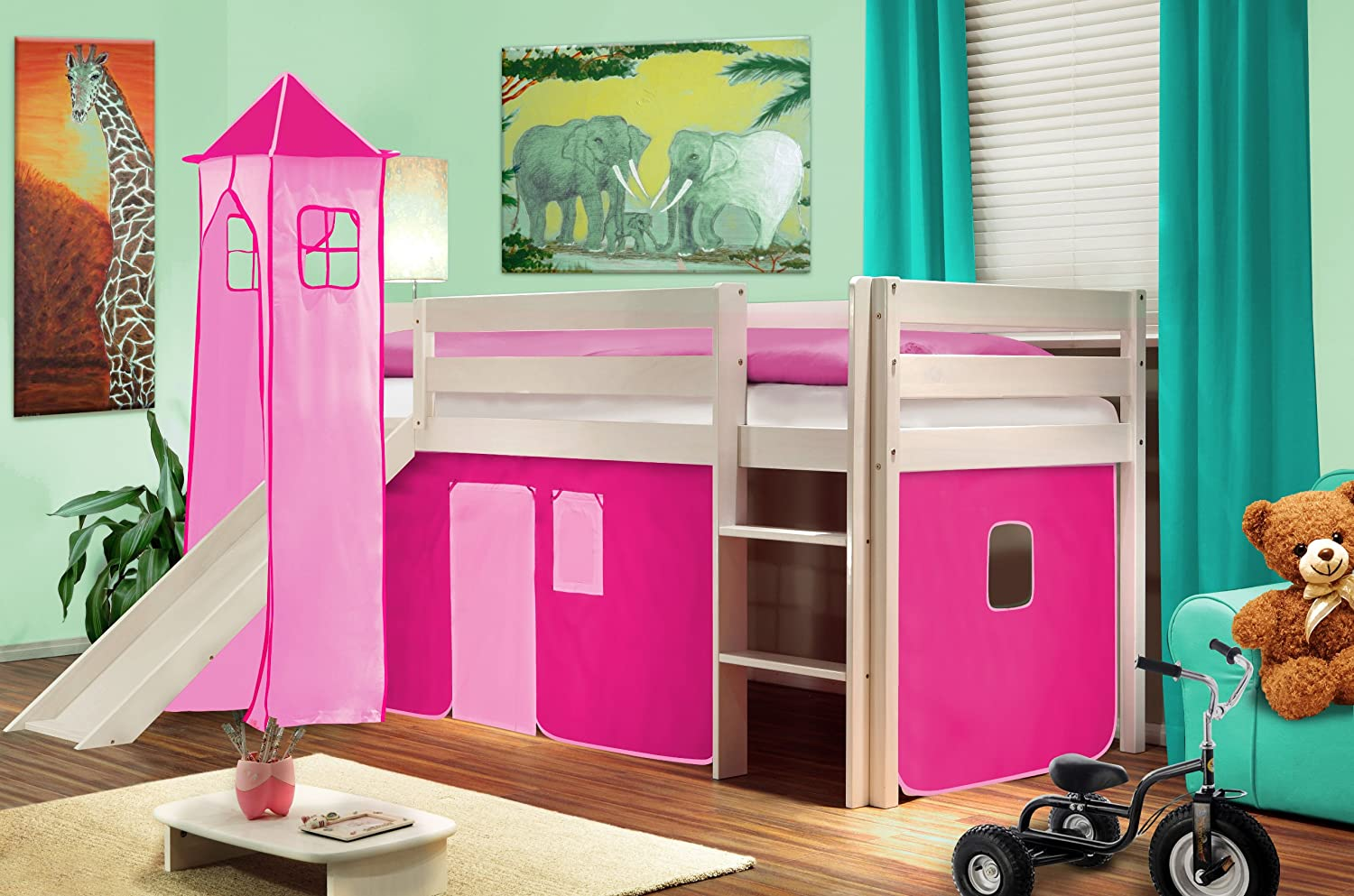 rezension hochbett kinderbett spielbett mit turm und rutsche massiv kiefer wei pink sehr. Black Bedroom Furniture Sets. Home Design Ideas