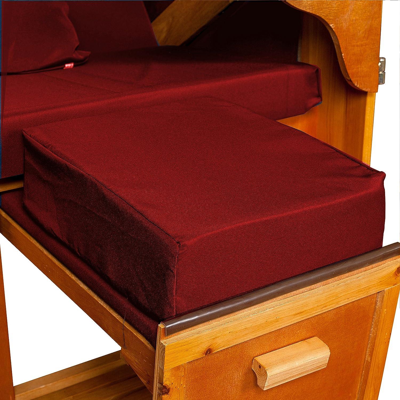 Strandkorb Auflagekissen-Set für Fussablage, bordeaux, 2er Set, LILIMO ®