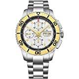 Alexander Vanquish Olyn Mens Chronograph Watch Stainless Steel Silver Face Day Date Tachymeter - Screw Down Crown Swiss Made Analog Automatic Diver Watch A420-03 - Alexander Automatic Watches For Men