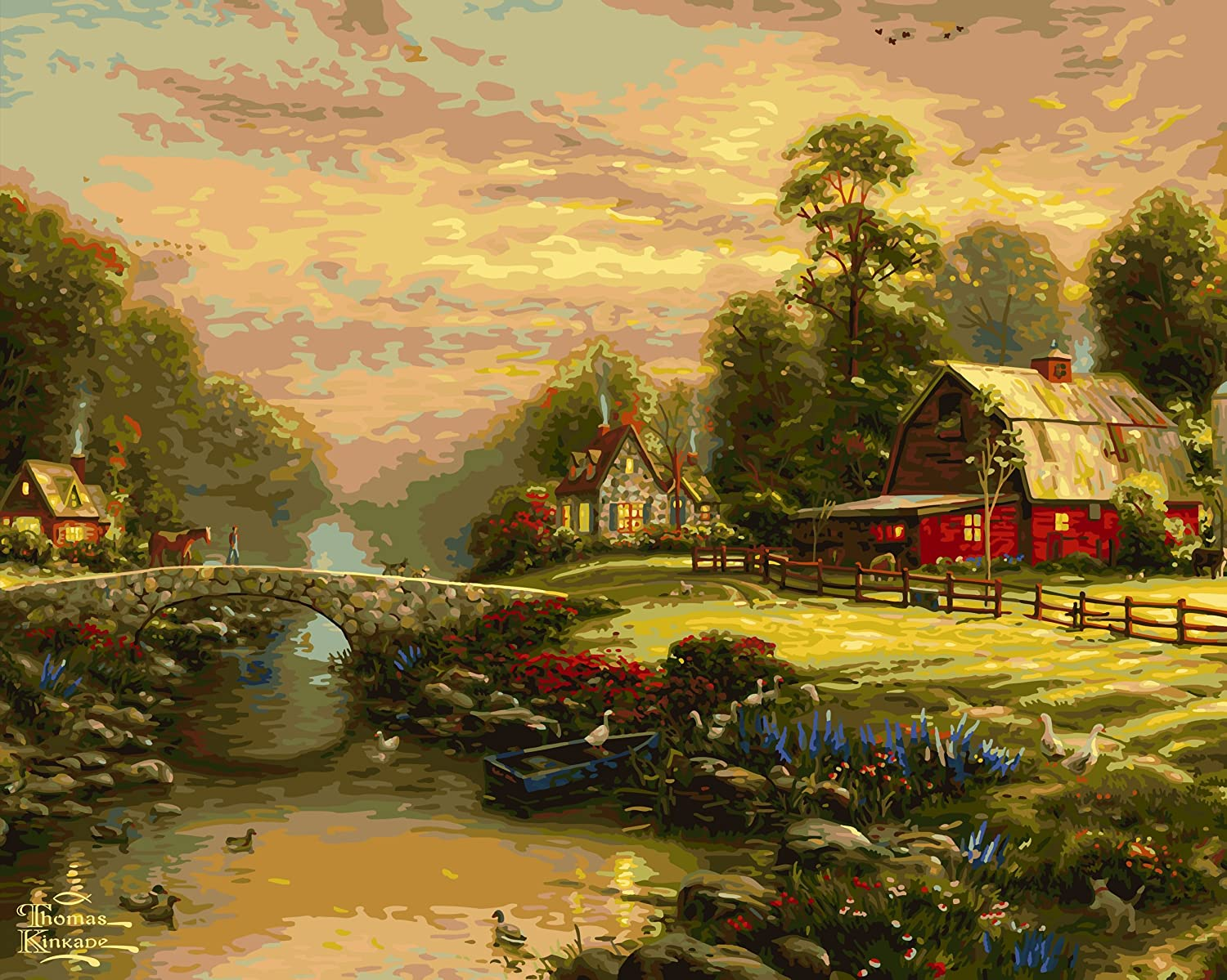 Plaid Thomas Kinkade Series Paint by Number Kit, 20-Inch by 16-Inch, Sunset at Riverbend Farm