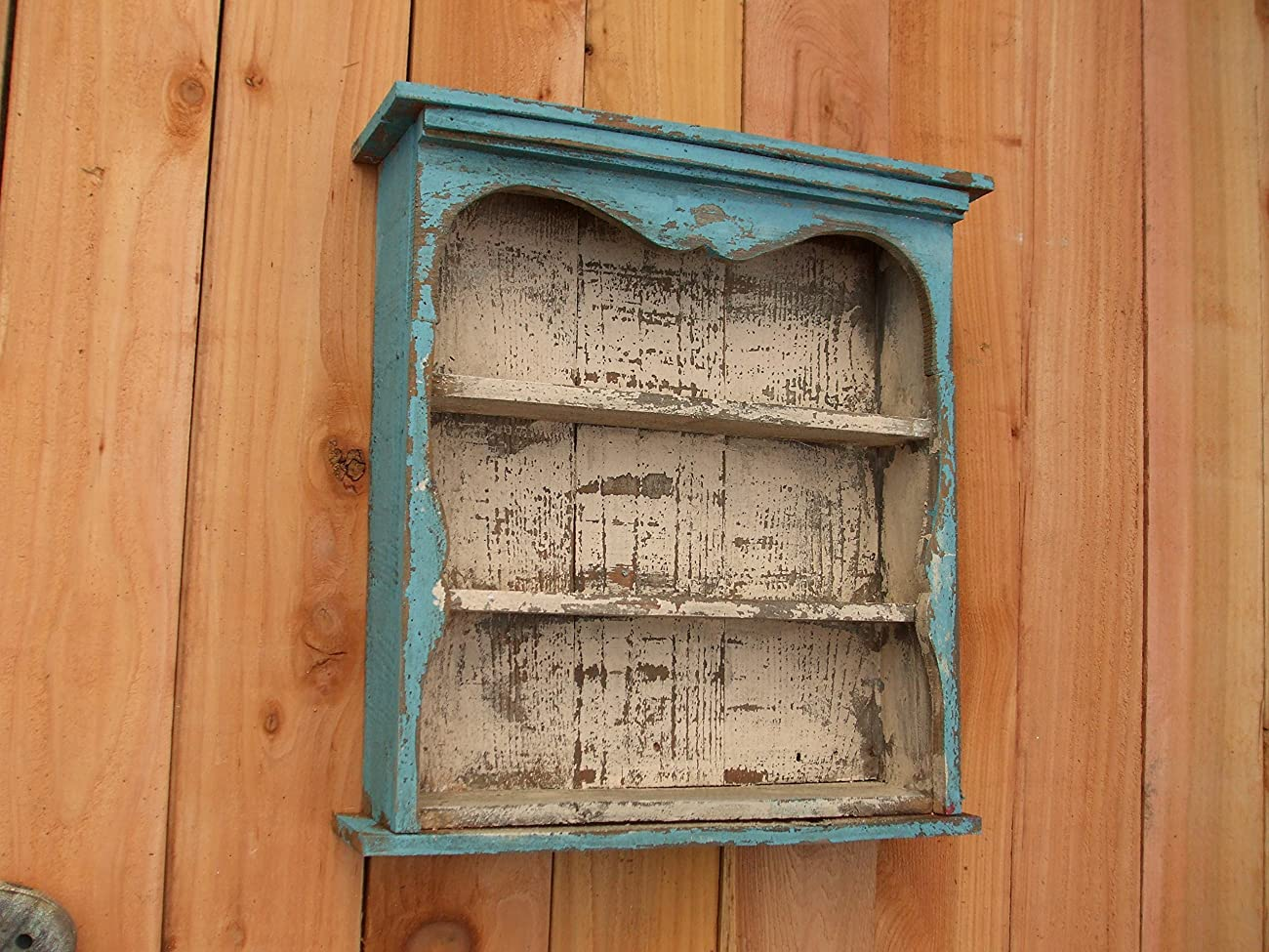Shabby Chic Style Blue Wall Shelf, Distressed Turquoise, Book Shelf, French Country, Shadow Box, Display Case, CEDAR, HANDMADE	 2