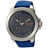 BOSS Orange Men's Quartz Stainless Steel and Leather Casual Watch, Color:Blue (Model: 1513355)