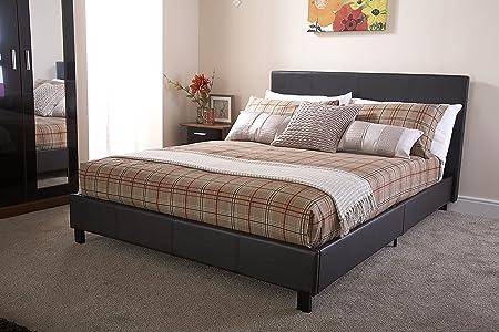 bed-in-a-box 5ft King Size Bett, Kunstleder, braun