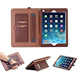iPad 7.9 Inch Mini4 Case,iPad Mini 4 Sleeve Cover, Businda Multi Function Flip Leather Protective Case, Protection with a Hand Strap and Lanyard, 2 Card Slots for iPad Mini 4 Case, Dark Brown (Color: Dark Brown, Tamaño: iPad Mini 4)
