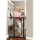 Regalo Easy Step Extra Tall Walk Thru Gate, Bonus Kit, Includes 6-Inch Extension Kit, 1 Pack of Pressure Mount Kit and 1 Pack of Wall Mount Kit, Black