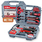 Hi-Spec 49 Piece Garage & Home Tool Kit with Low Vibration Claw Hammer, Adjustable Wrench, Metric 1/4