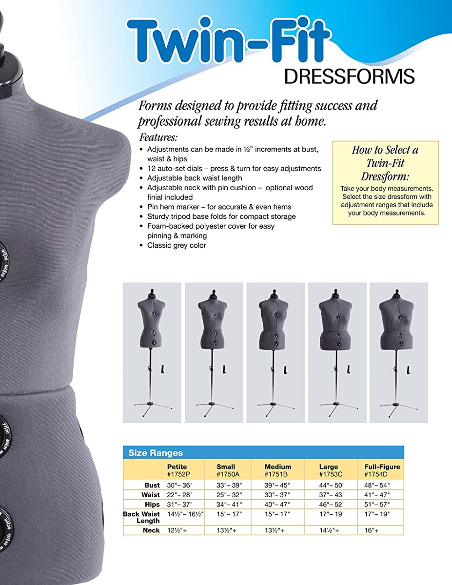 Dritz Twin-Fit Dress Form, Full Figure