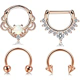 Jstyle 4 Pcs 316L Stainless Steel Septum Ring Nose Hoop Piercing 16G 8MM Silver Rose Gold Tone (4pcs Rose-gold Tone) (Color: 4pcs Rose-gold Tone)