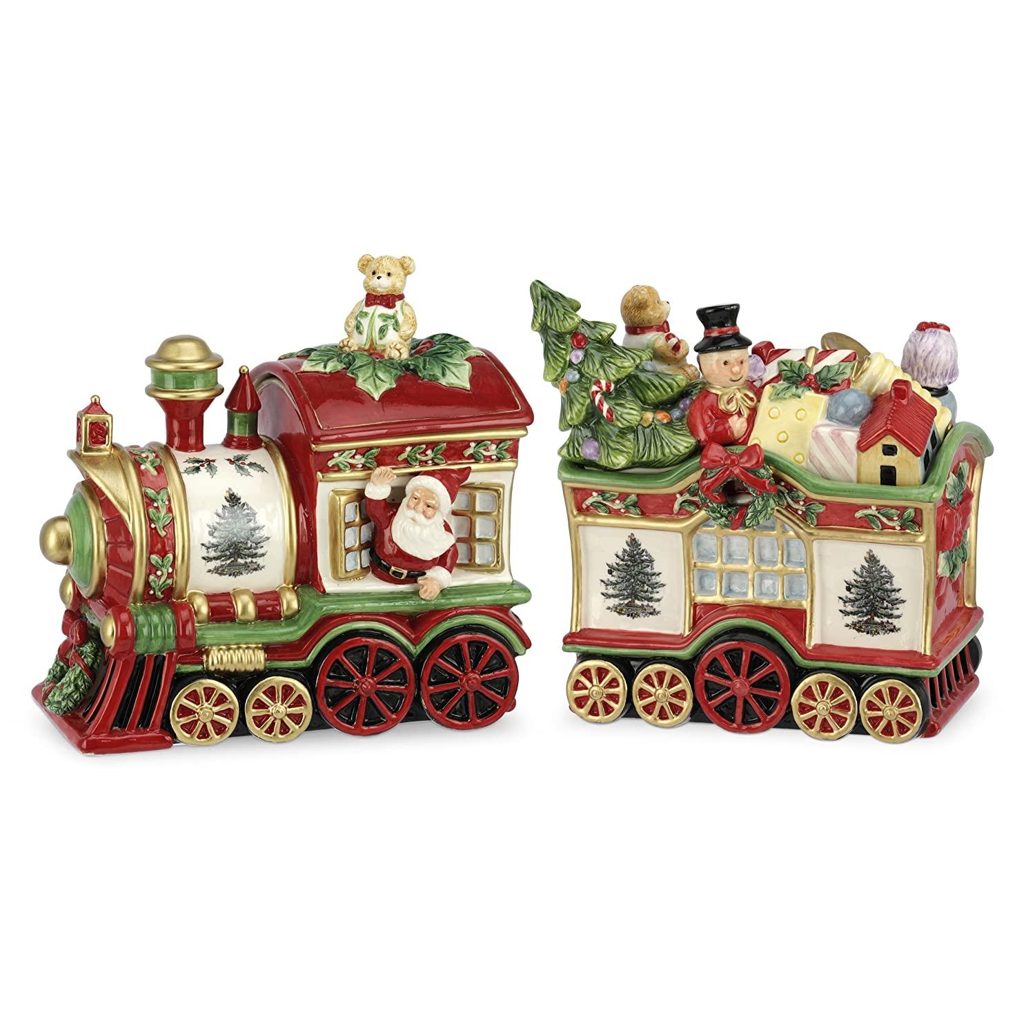 Spode Christmas Tree 2-Piece Train Set Covered Cookie Jar, 9.5-Inch/8.75-Inch