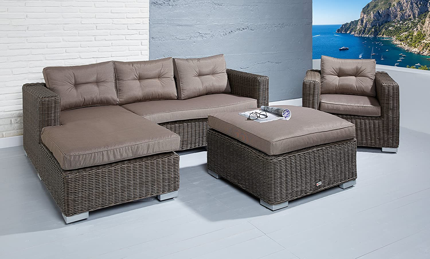 poly rattan loungegarnitur sitzgruppe julia cappuccino mit. Black Bedroom Furniture Sets. Home Design Ideas