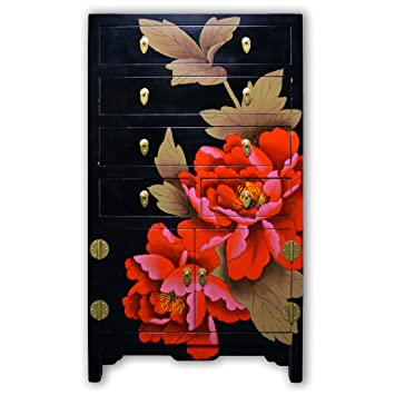 "TransSino Treasures 37"" Chinese Black Lacquer Dresser with Flower and Leaf Hand Painting with 2 Doors and 5 Drawers"