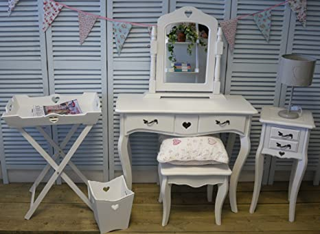 New sweetheart white dressing table with swing mirror , stool, 1 x 2drawer bedside table and butlers tray (bin not included)