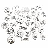 30pcs Inspiration Words Charms Craft Supplies Mixed Pendants Beads Charms Pendants for Crafting, Jewelry Findings Making Accessory For DIY Necklace Bracelet M44 (Inspiration Charms) (Color: Inspiration Charms)