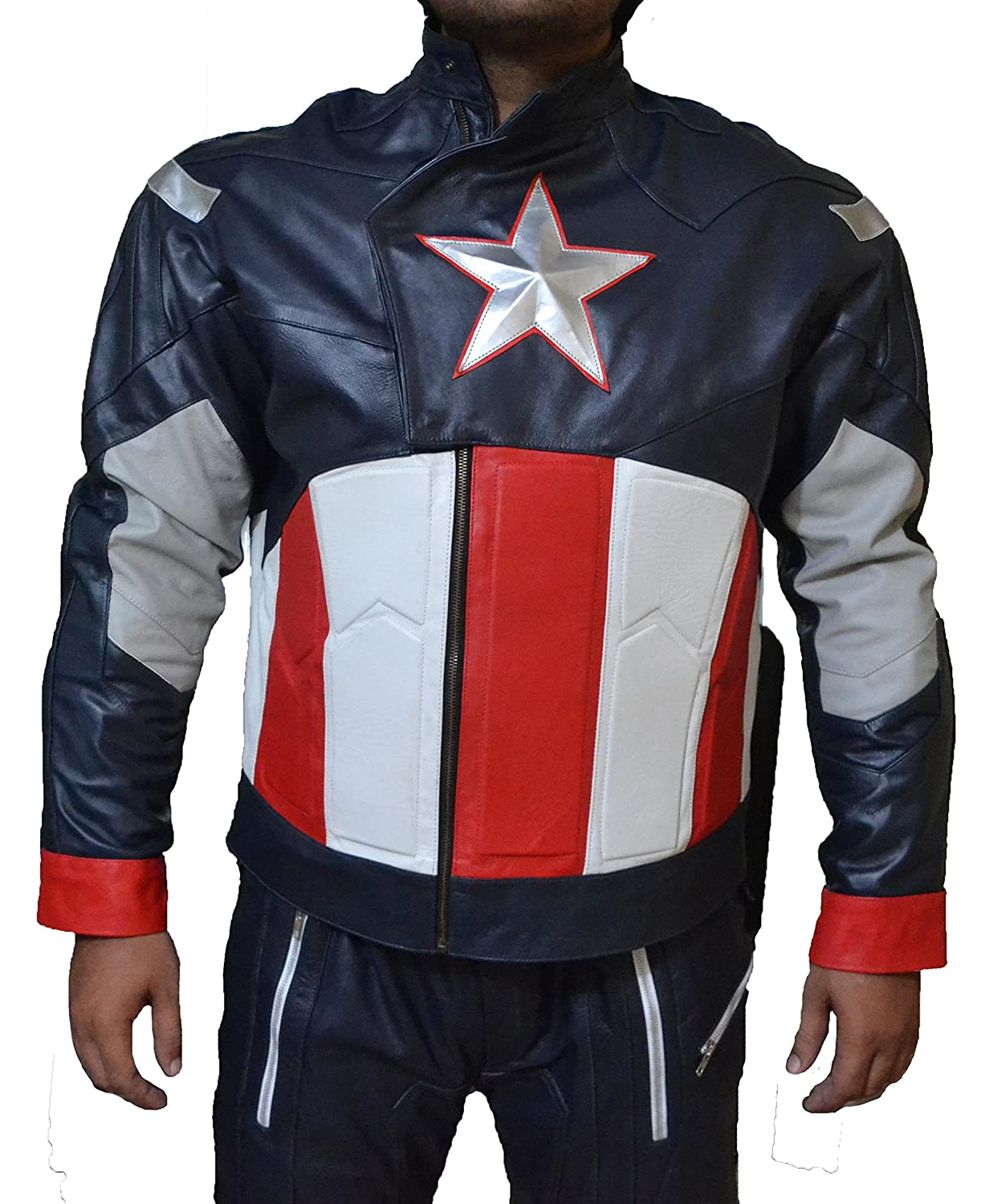 CAPTAIN AMERICA CHRIS EVANS AVENGER1 CA COWHIDE LEATHER PANTS-BEST HALLOWEEN COSTUME