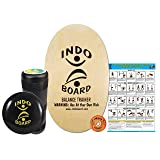 INDO BOARD Original Training Package - Natural Wood Color- A Mini Gym In Your Living Room, Perfect For Anyone Ages 3 To 93. Improves Balance, Stability, Core Strength and Posture All While Having Fun (Color: Natural)