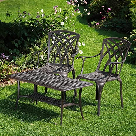 Lazy Susan Furniture - Claire Rectangular Coffee Table and 2 April Chairs - Cast aluminium garden set, Antique Bronze