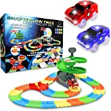 Glow Race Tracks for Boys – 360pk Light Up Snap N' Glow in The Dark Magic Rainbow Race Tracks for Kids w/ Light Up Car Toys, Slot Car Racing Track Set
