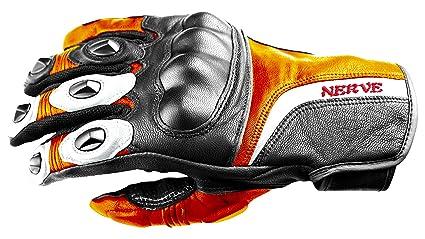 NERVE 31140327_02  KQ11 Gants Moto, Noir-Orange Néon, Taille S/8
