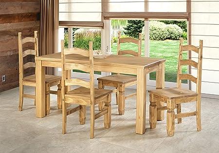 Sitzgruppe Garnitur mit Esstisch 160x80cm + 4 Stuhle Mexico Holz Pinie massiv in Brasil