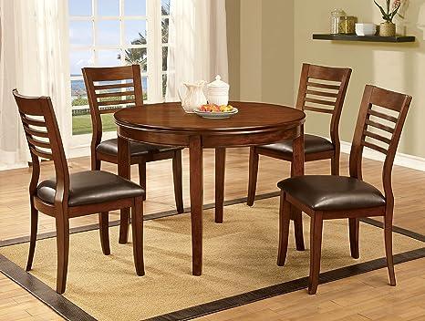 Furniture of America Dekina II 5-Piece Transitional Dining Set, Medium Oak