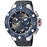 Invicta Men's 'Subaqua' Quartz Stainless Steel and Leather Casual Watch, Color:Black (Model: 25068)