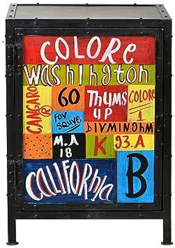 """Sit-Möbel 8954-99 cómoda """"Colore"""", 50 x 40 x 70 cm, de metal con aspecto de desgaste intencionados y vintage diseño pintado a mano"""