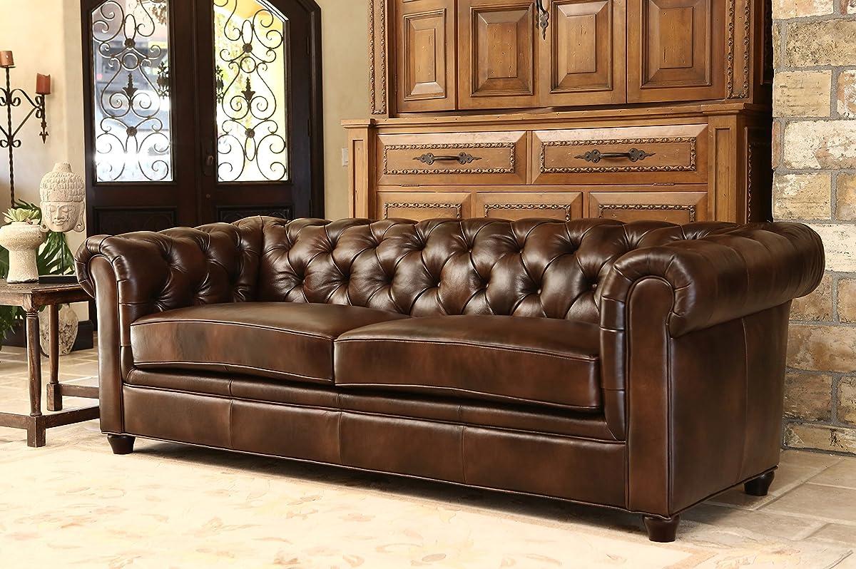 Abbyson® Foyer Premium Italian Leather Sofa, Brown