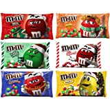 M&M Solid Milk Chocolate Christmas Candy Sampler - Holiday Flavored Variety Bulk Assortment - Milk Chocolate, Peanut, Peanut Butter, Caramel, Mint, White Peppermint - 8.0 - 11.40 Ounce - Pack of 6 (Tamaño: 8 Ounces)