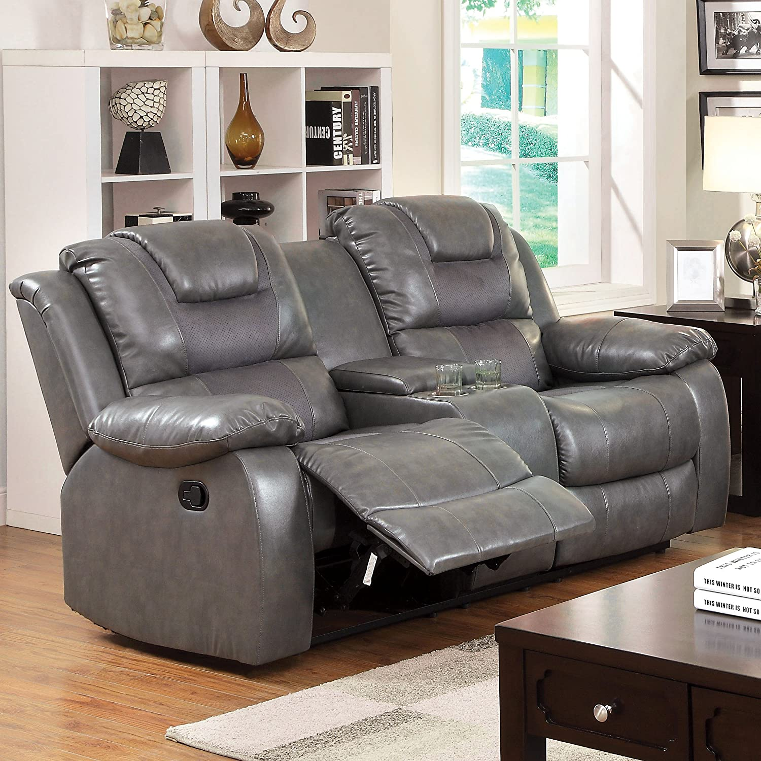 Furniture of America Steely 2-Recliner Love Seat