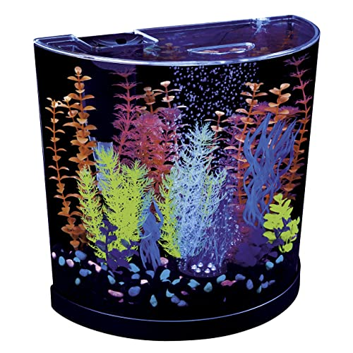 GloFish Half Moon 3-Gallon Aquarium with Blue LED Bubbler