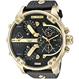 Diesel Mr. Daddy Analog Quartz  2.0 Two Hand Leather Watch (Color: Black)