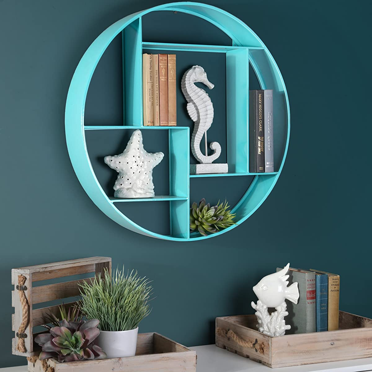 Urban Trends Metal Round Wall Shelf with 7 Slots and 2 Keyhole Hangers Coated Finish, Blue