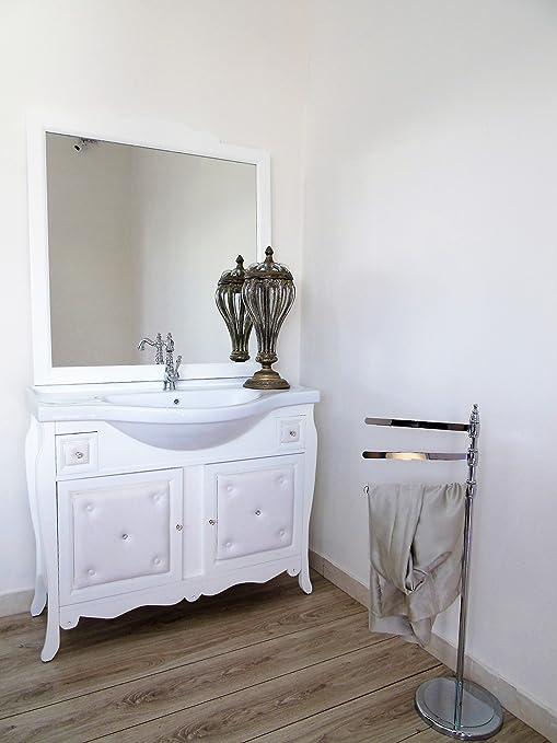 Arredo bagno contemporaneo con ecopelle e swaarovsky bianco opaco moderno contemporaneo mobile bagno