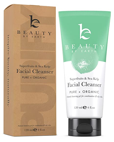 Face Wash - Organic & Natural Ingredients Facial Cleanser with Superfruit & Sea Kelp, Gentle Gel Formula Best for Normal, Combination, Oily, Acne Prone or Problem Skin. No Parabens or SLS - For Daily Use by Men & Women - Made in the USA