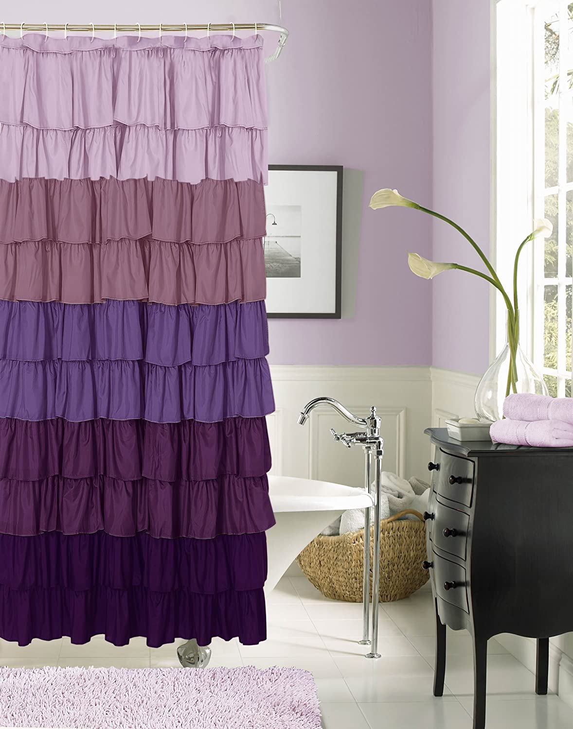 Ruffled Curtains Canada Ruffled Shower Curtain