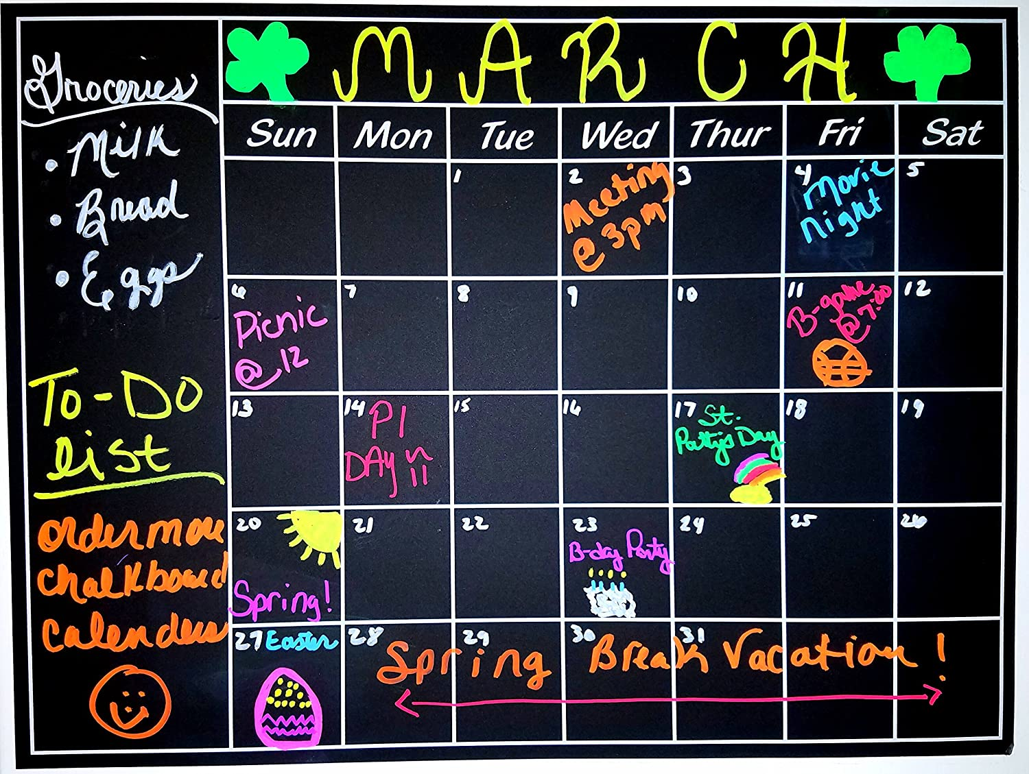 Chalkboard Calendar Sticker Blackboard Monthly Organizer 23.6 inches by 17.7 inches