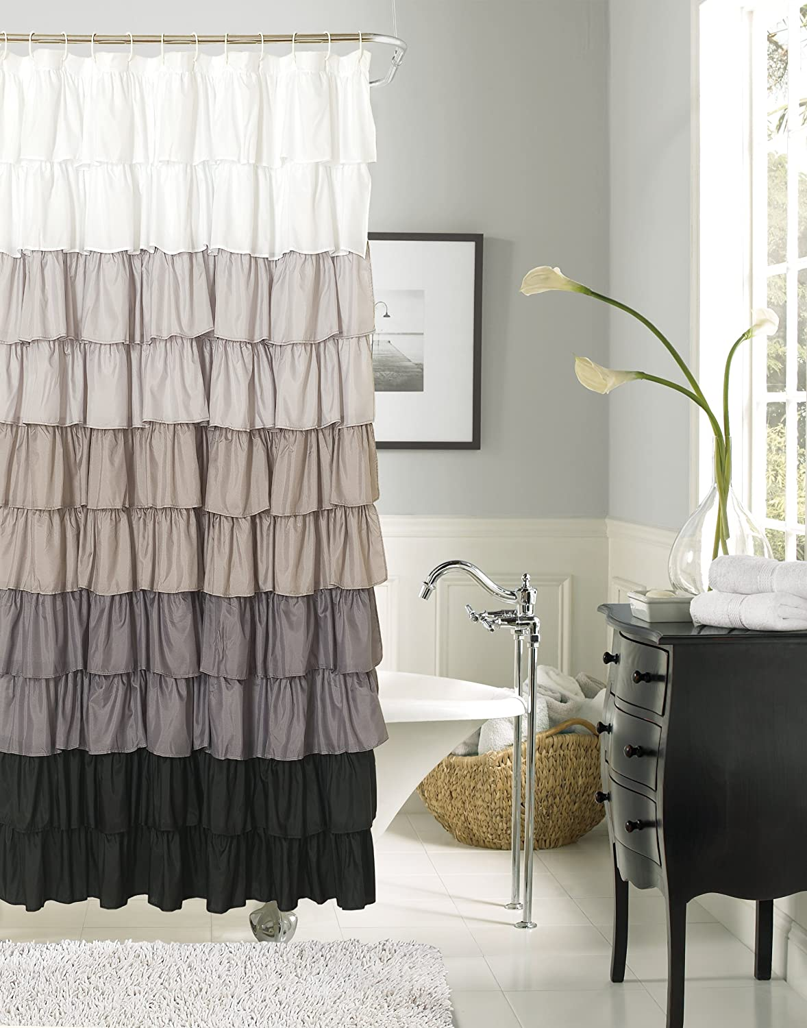 Fabric shower curtains that will dress up your bathroom for Matching bedroom and bathroom sets
