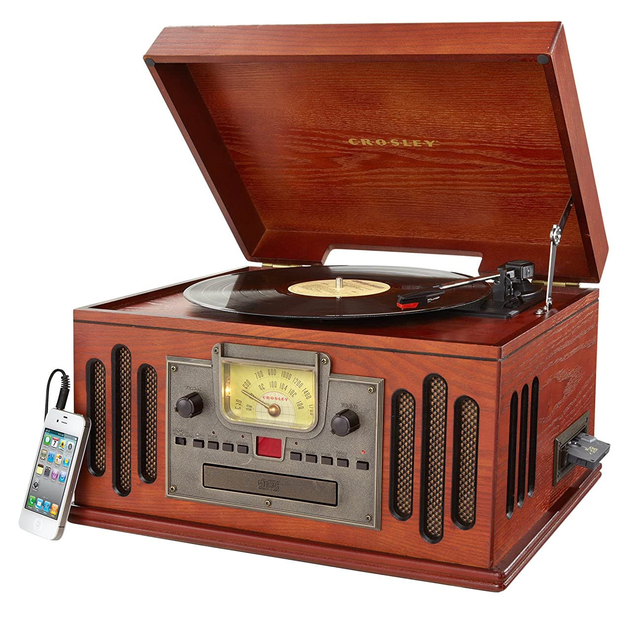 Crosley CR704C-PA Musician Turntable with Radio, CD Player, Cassette and Aux-In, Paprika 1