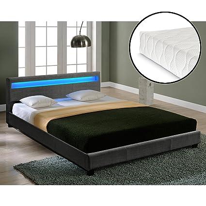 Corium® Hochwertiges LED-Bett aus Stoff 180x200cm dunkelgrau inkl. Fernbedienung + Matratze