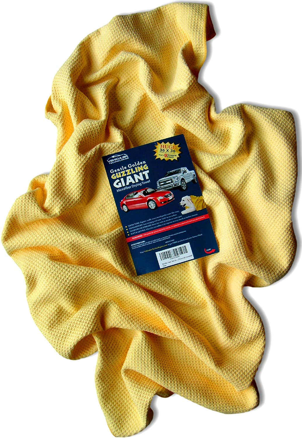 Microfiber Towel -- Giant 36 x 36 inch Premium Waffle Weave is Super Absorbent -- Fast Drying of Pets, Showers, Hair, Cleaning Spills, too -- Professional Automotive Cloth is Lint and Streak-Free