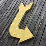 Large YELLOW Rustic Curved RIGHT Arrow Metal Vintage Inspired Marquee Sign Light