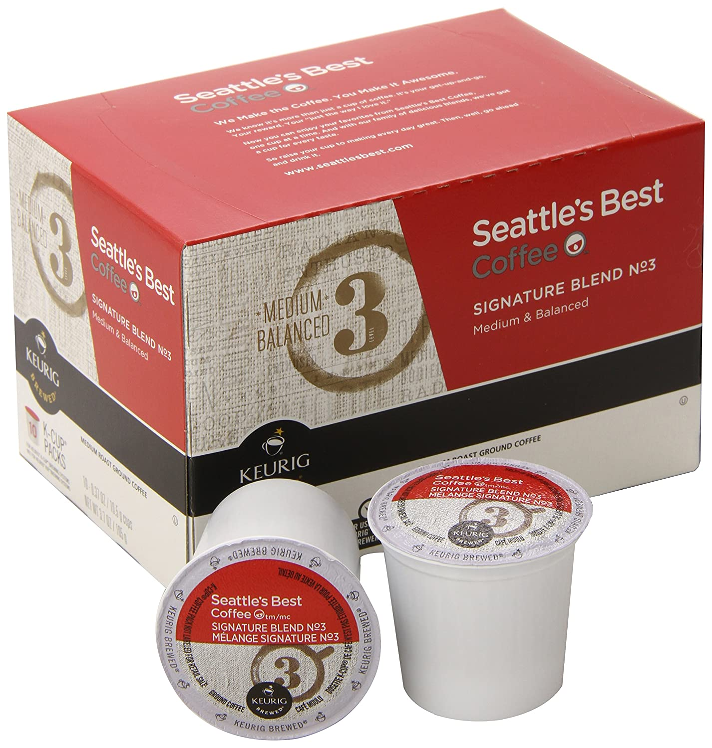 Seattle's Best Coffee K-Cup, Signature Blend No 3, 10 Count (Pack of 6)