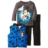 Disney Baby Boys' Mickey Mouse 3 Piece Nylon Vest Set, Blue, 18 Months (Color: Blue, Tamaño: 18 Months)