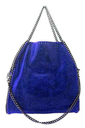 62d4bfbe4a DEEP ROSE Borsa in Vera Pelle Donna a spalla mano tracolla con catena Made  in Italy shopper lisa colore blu: Abbigliamento
