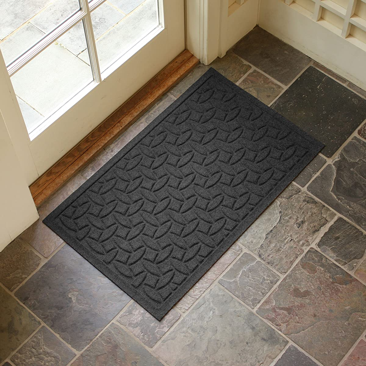 Bungalow Flooring Waterhog Doormat, 2 x 3, Skid Resistant, Easy to Clean, Catches Water and Debris, Ellipse Collection, Charcoal