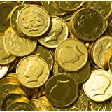Solid Milk Chocolate Large Kennedy Gold Coins - 2 Full Pounds Bulk Wholesale