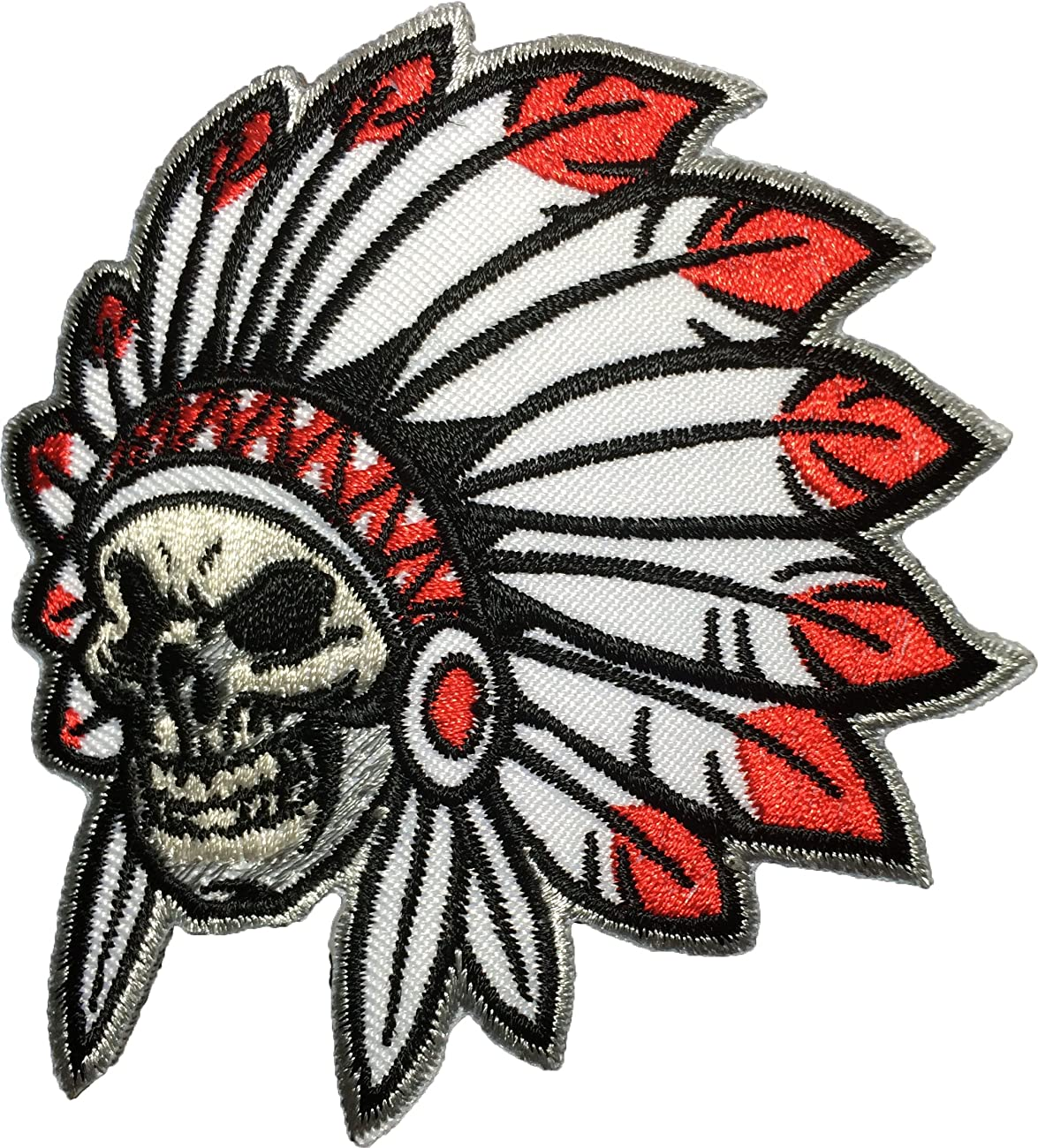 Native American Indian Chief Feather Skull Sew Iron on Patch (SKUL-HEAD-INDI-AN02) 0