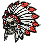 Native American Indian Chief Feather Skull Sew Iron on Patch (SKUL-HEAD-INDI-AN02)